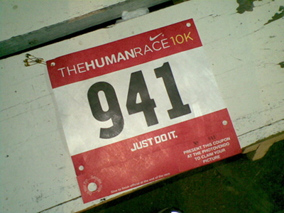 "Yes, this was the race number from ""The Human Race"" held earlier this year.  It served as our ""ID"" which I think is ingenious!  I had to take a picture before it got ""broken-in."""
