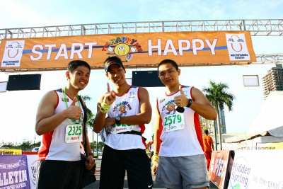 With some happy runners