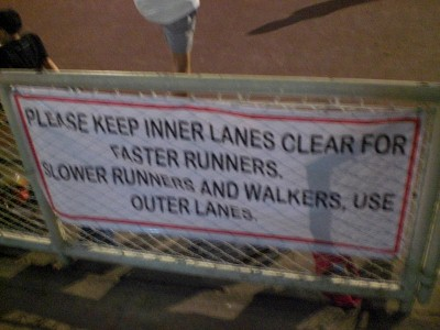Please keep inner lanes clear for faster runners