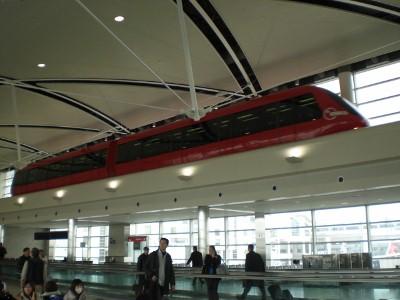 A tram right inside Detroit International