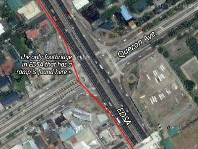 EDSA-Quezon Ave. intersection.  It has the only footbridge you can run up to because of the ramp.