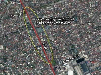 East Ave.-Kamuning-Aurora Blvd.  My GPS reading was distorted by the flyover making it looked like I was running in the middle of the road.
