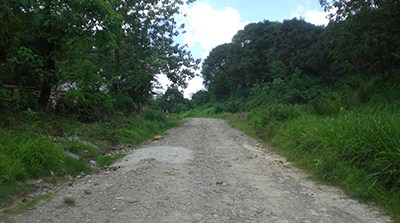 One of the dirt roads along the route