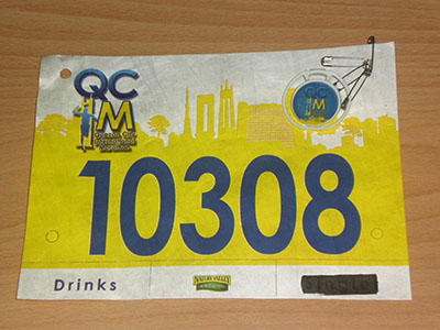 QCIM race bib and timing chip