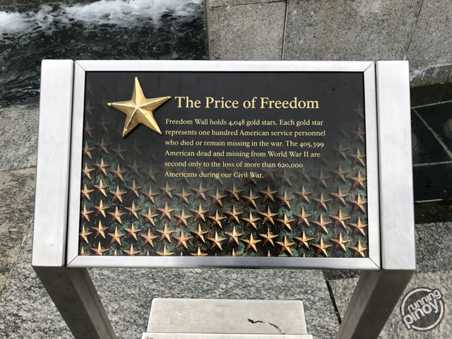 Freedom Wall holds 4,048 gold stars. Each gold star represents one hundred American service personnel who died or remain missing in the war...